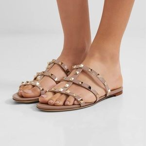 9b4a0fecc25f58 Valentino Shoes - Valentino Rockstud Caged Flat Slide Sandals 39.5